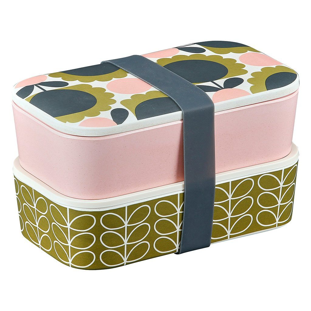Orla Kiely Bamboo 2-Tier Lunch Box - Scallop Flower Forest - BouChic