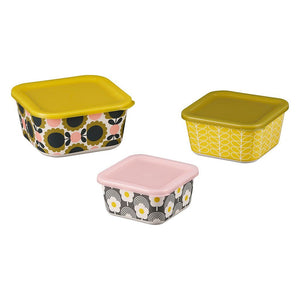 Orla Kiely Bamboo Set of 3 Nesting Pots - Scallop Flower Forest - BouChic