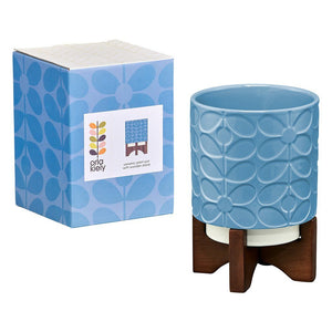 Orla Kiely Ceramic Plant Pot On Wooden Stand Sixties Stem Sky - BouChic