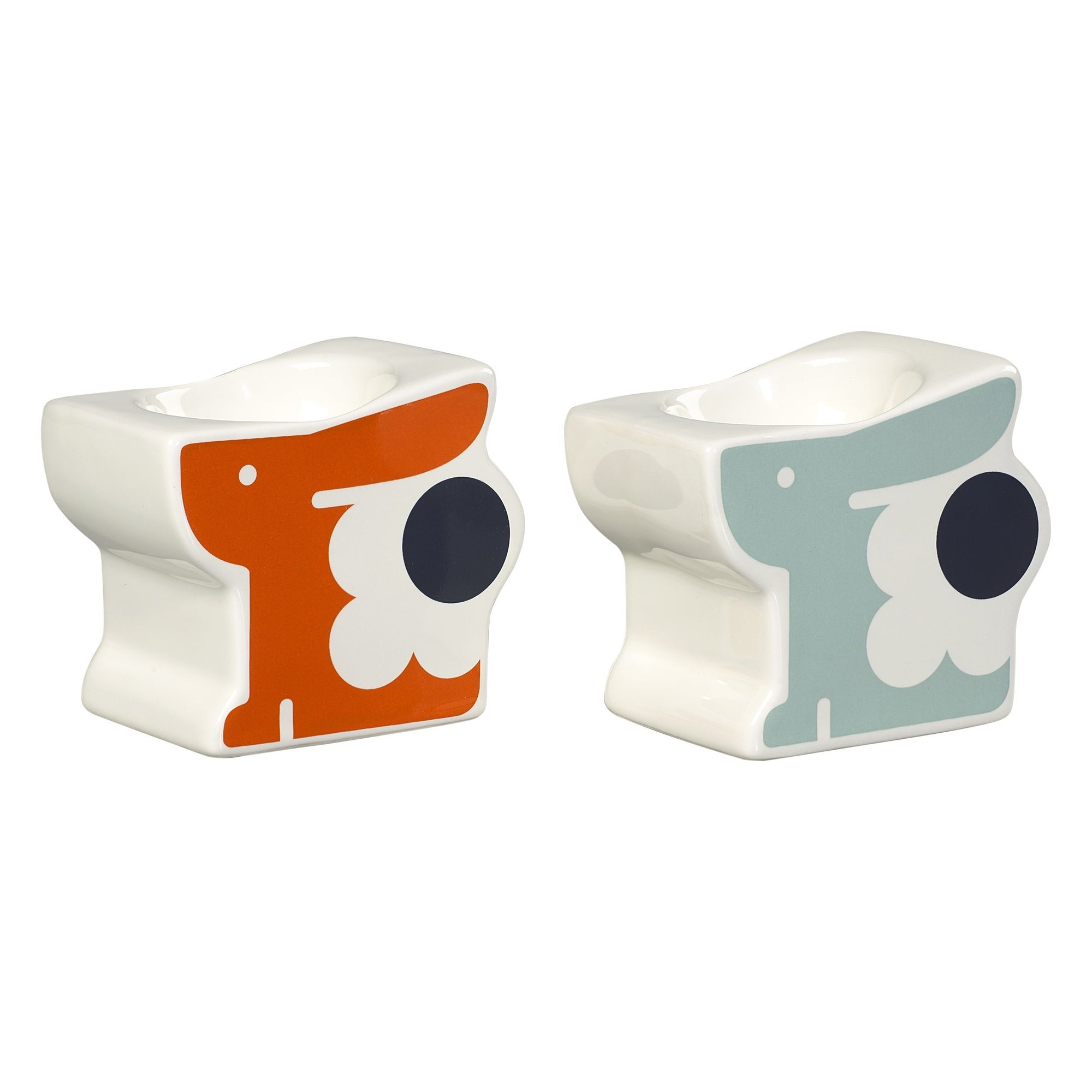 Orla Kiely Set of 2 Ceramic Egg Cups Bonnie Bunny Persimmon Duck Egg - BouChic
