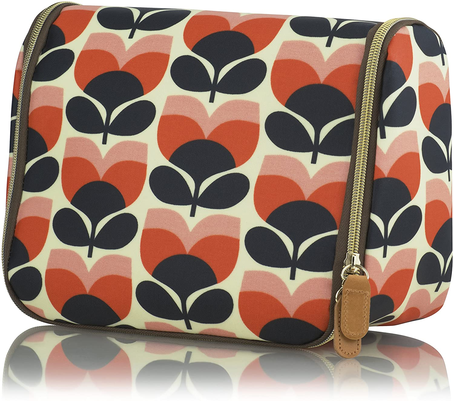 Orla Kiely Flower Stripe Hanging Wash Bag - Persimmon - BouChic