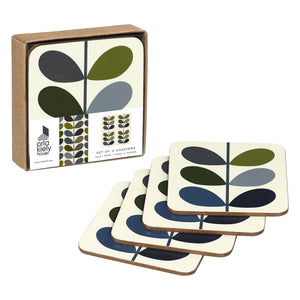 Orla Kiely Multi Stem Khaki Marine Coasters - Set of 4 - BouChic