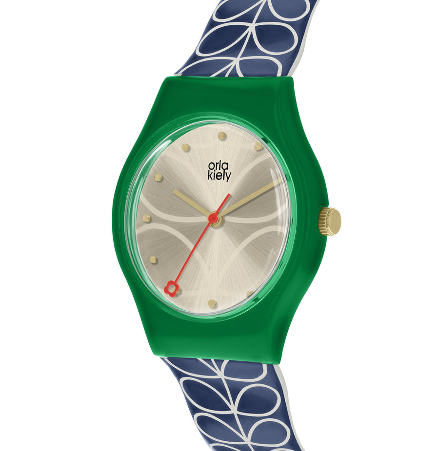 Orla Kiely Navy Blue & Green Ladies' Bobby Watch Watches Bouchic