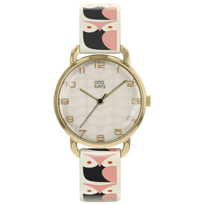 Orla Kiely Owl Leather Strap Watch Pink and Black - BouChic