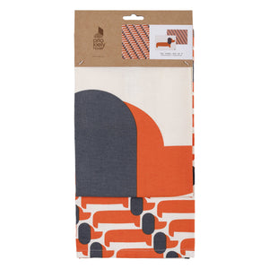Orla Kiely Set of 2 Dachshund Dog Tea Towels Persimmon Orange - BouChic