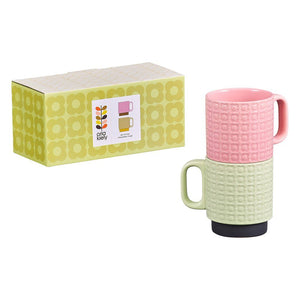 Orla Kiely Set Of 2 Pressed Flower Ceramic Mugs - Pink/Green - BouChic
