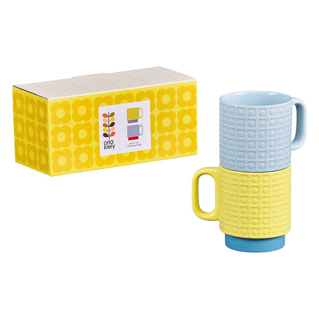 Orla Kiely Set of 2 Pressed Flower Ceramic Stacking Mugs - Yellow/Blue - BouChic