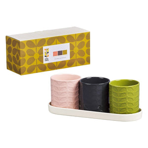 Orla Kiely Set of 3 Ceramic Herb Pots In Ceramic Tray - BouChic