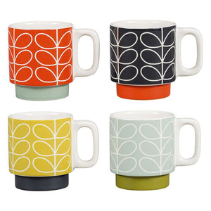 Orla Kiely Set of 4 Espresso Stacking Mugs - BouChic