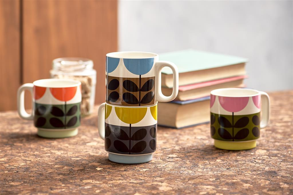 Orla Kiely Set of 4 Stackable Mugs Sunflower Multi - BouChic
