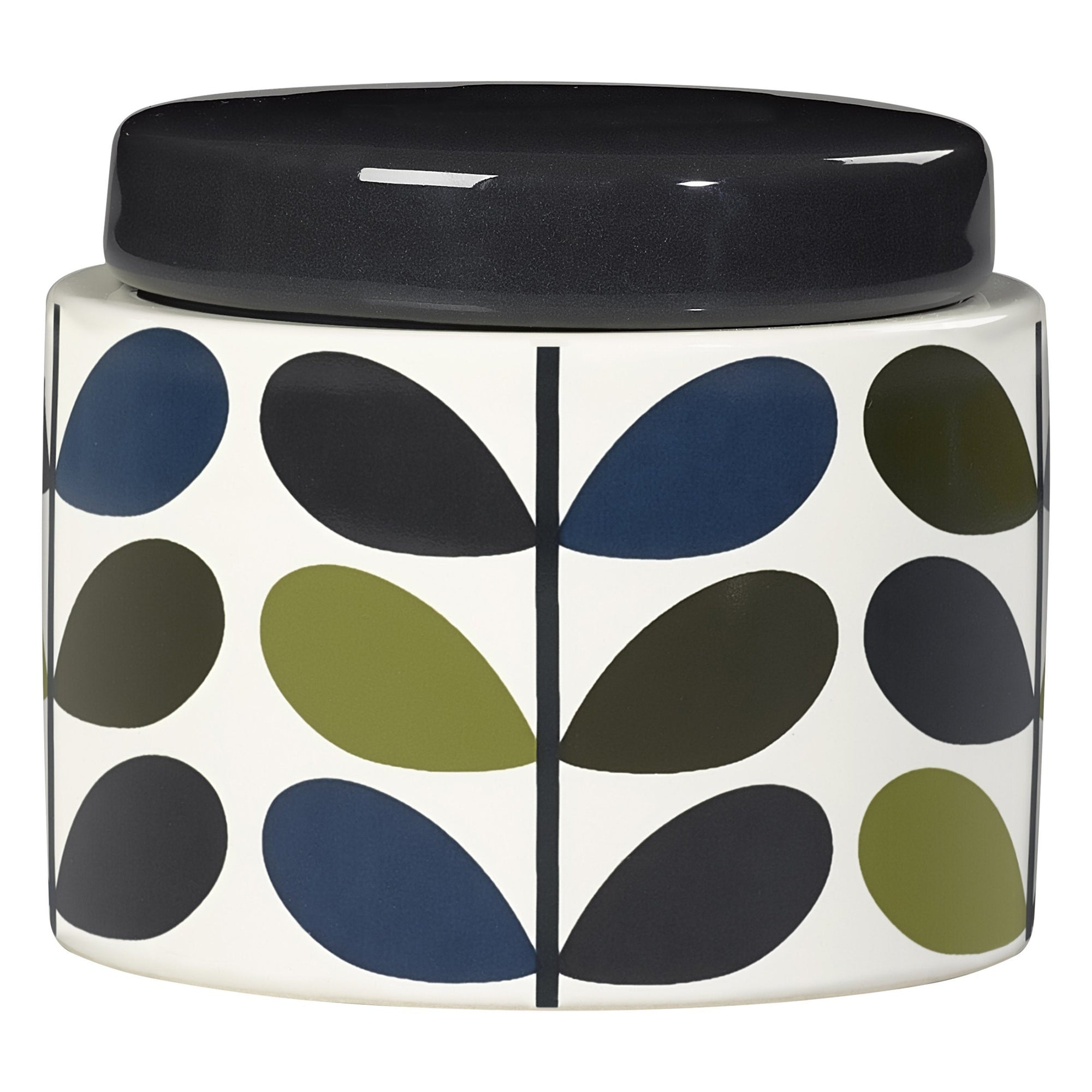 Orla Kiely Small Ceramic Multi Stem Storage Jar - Khaki/Marine - BouChic