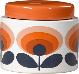 Orla Kiely Small Storage Jar 70s Oval Flower Persimmon Orange - BouChic