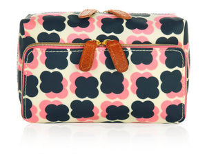 Orla Kiely Wash Bag Floating Flowers Navy/ Pink - BouChic