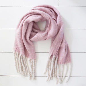 Oversized Lilac Speckle Blanket Scarf with Tassels - BouChic