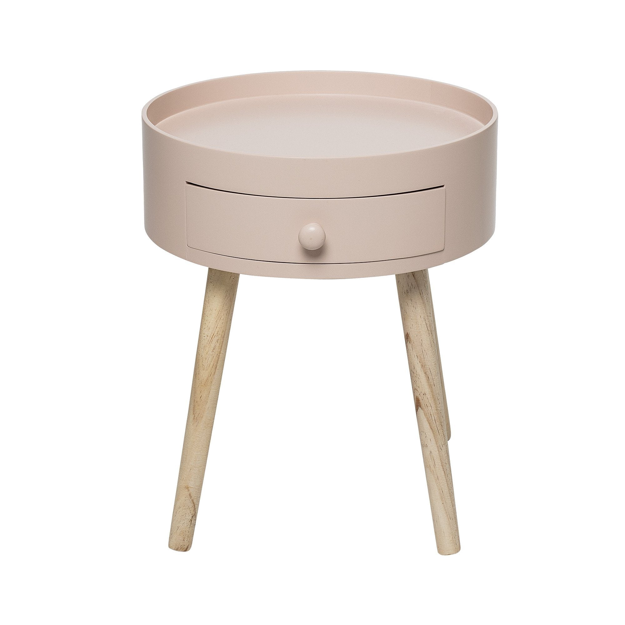 Pink Round Side Table With Drawer - BouChic