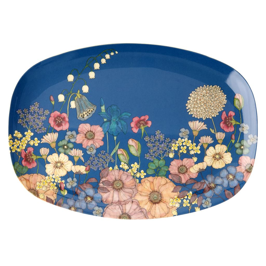 Rectangular Melamine Plate Floral on Blue - BouChic