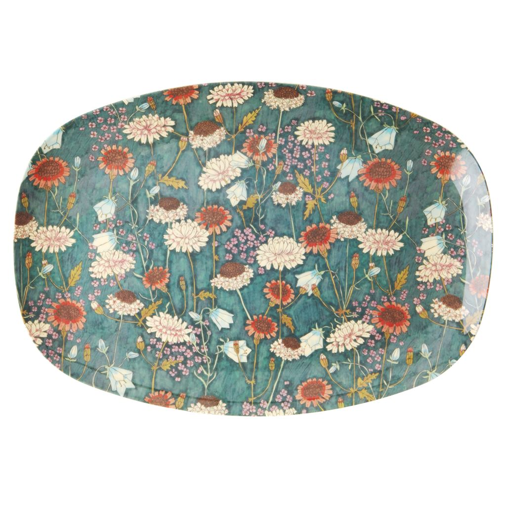 Rectangular Melamine Plate Floral on Blue/Green - BouChic