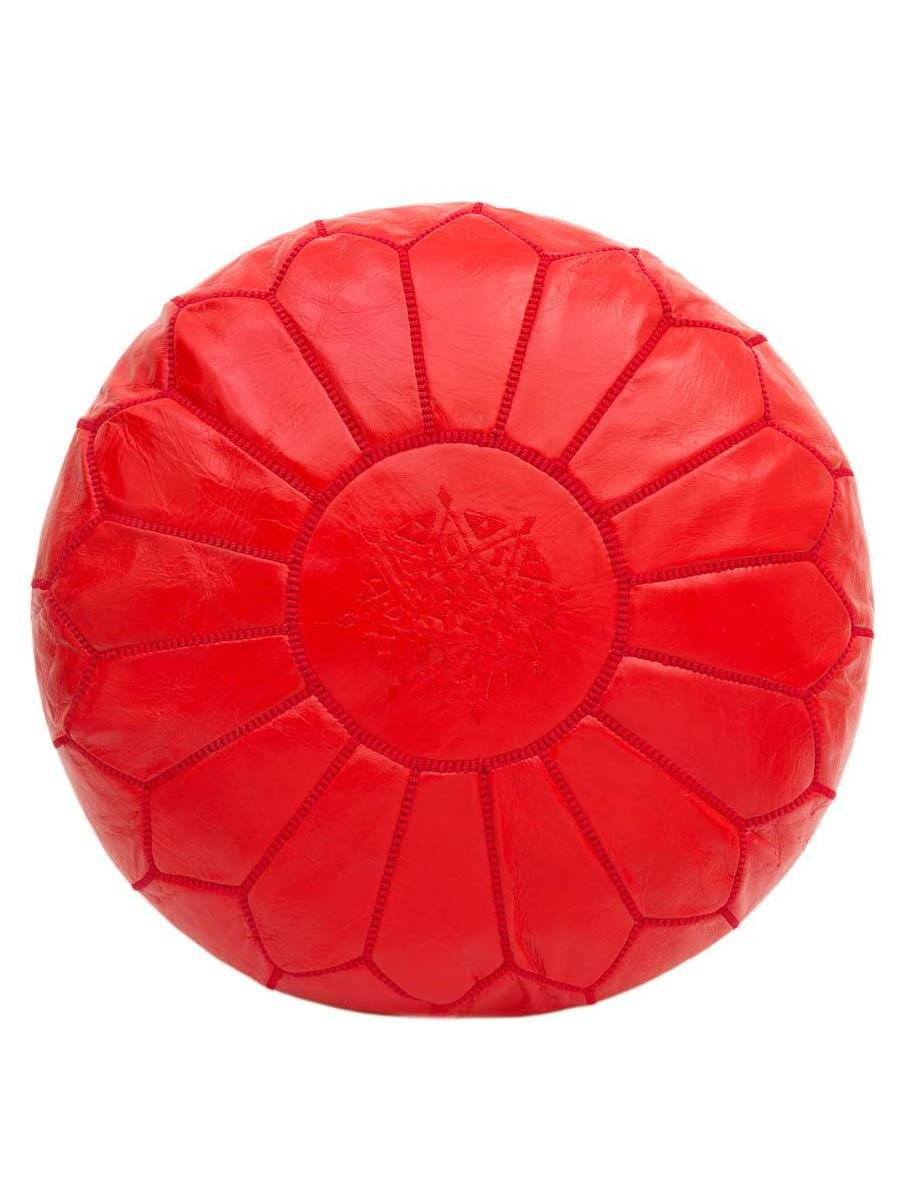 Red Leather Pouffe - BouChic