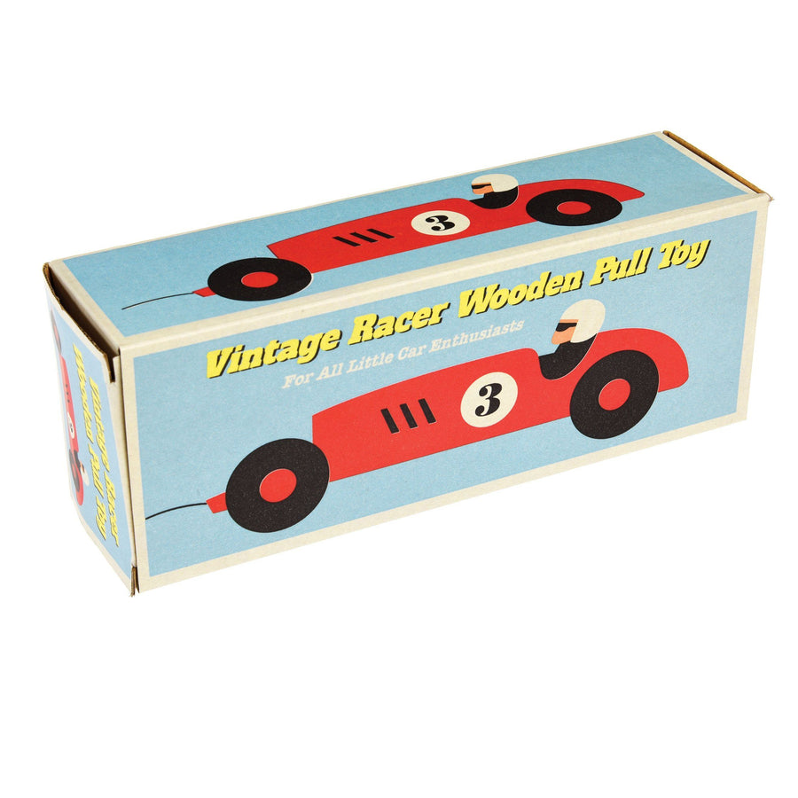 Red Retro Racer - Wooden Pull along Toy wooden toy BouChic