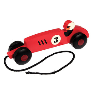 Red Retro Racer - Wooden Pull along Toy - BouChic
