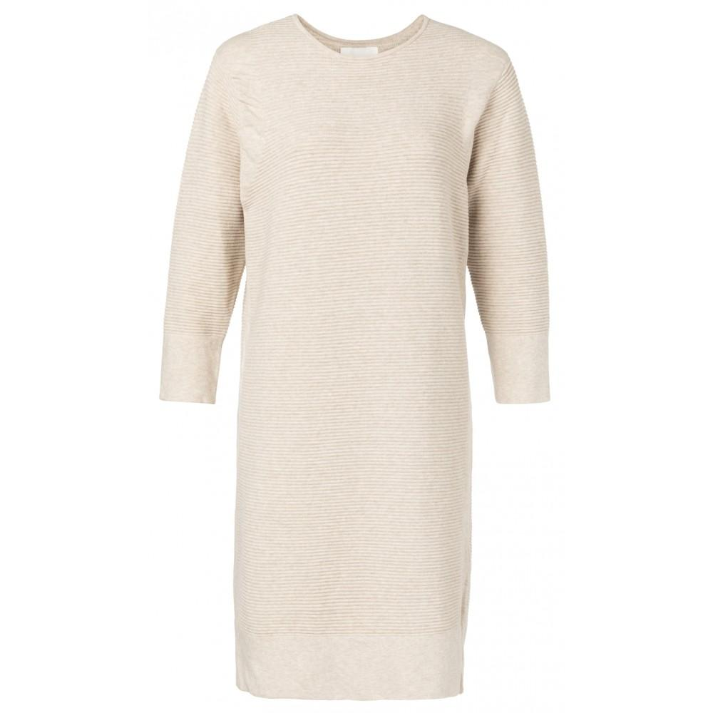 Ribbed Midi Dress Beige Melange - BouChic