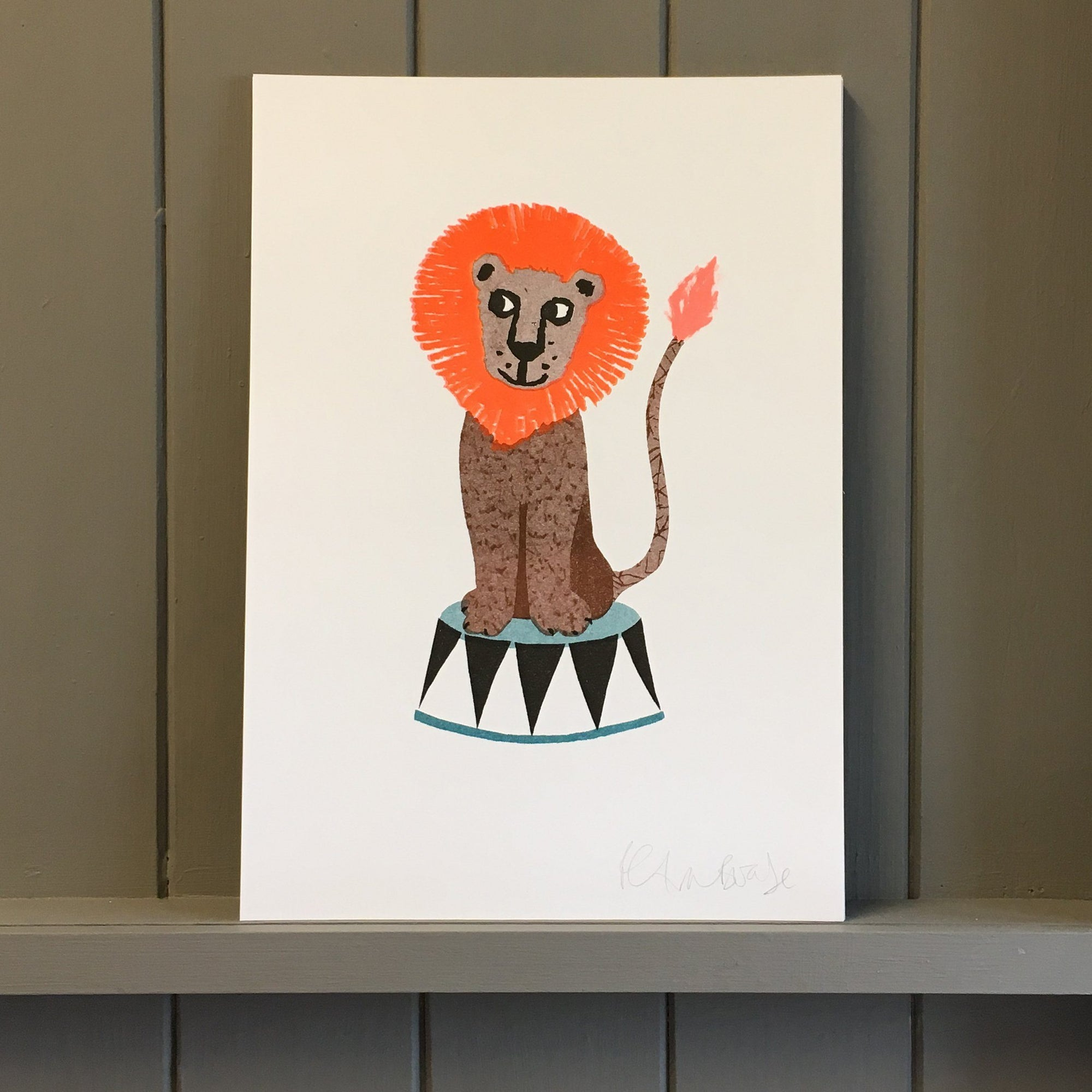Risograph Print - Colourful Lion On Stand - BouChic