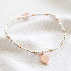 Rose Gold and Silver Beaded Heart Charm Bracelet - BouChic