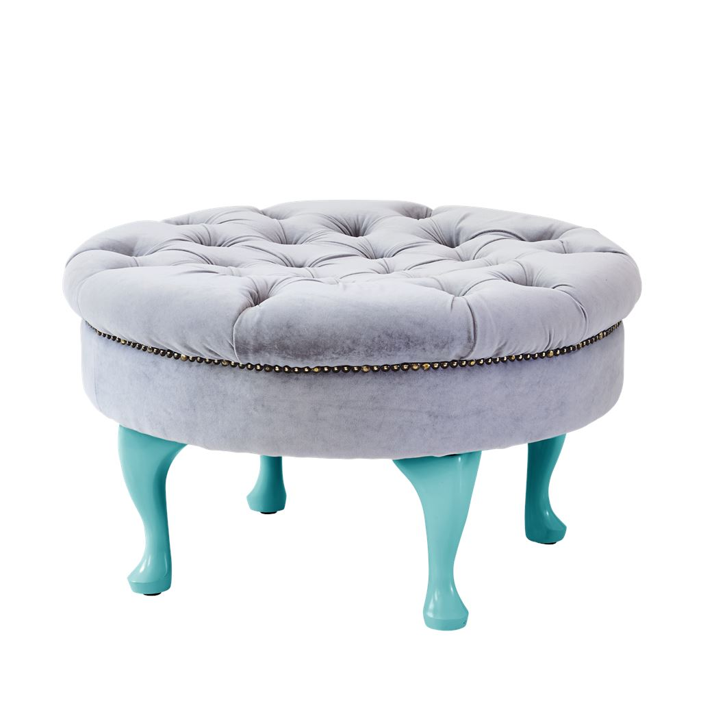 Round Velvet Pouf Seat in Soft Grey with Mint Legs - BouChic