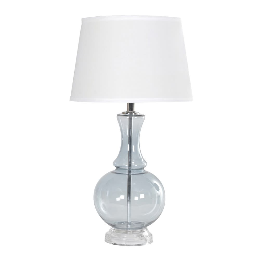 Sea Grey Glass Lamp White Shade - BouChic