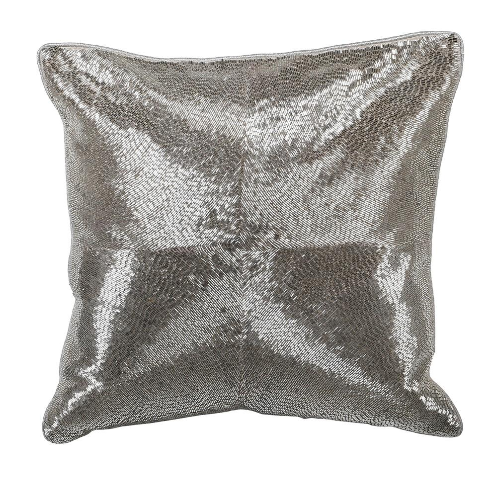 Silver Embroidered Cushion Cover - BouChic