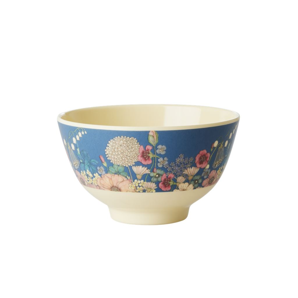 Melamine Small Bowl Floral On Blue - BouChic