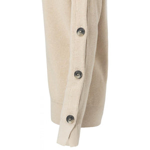 Soft Beige Boat Neck Sweater With Buttons - BouChic