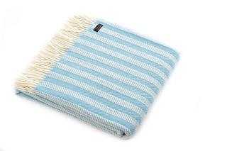 Striped Blue New Pure Wool Herringbone Throw - BouChic