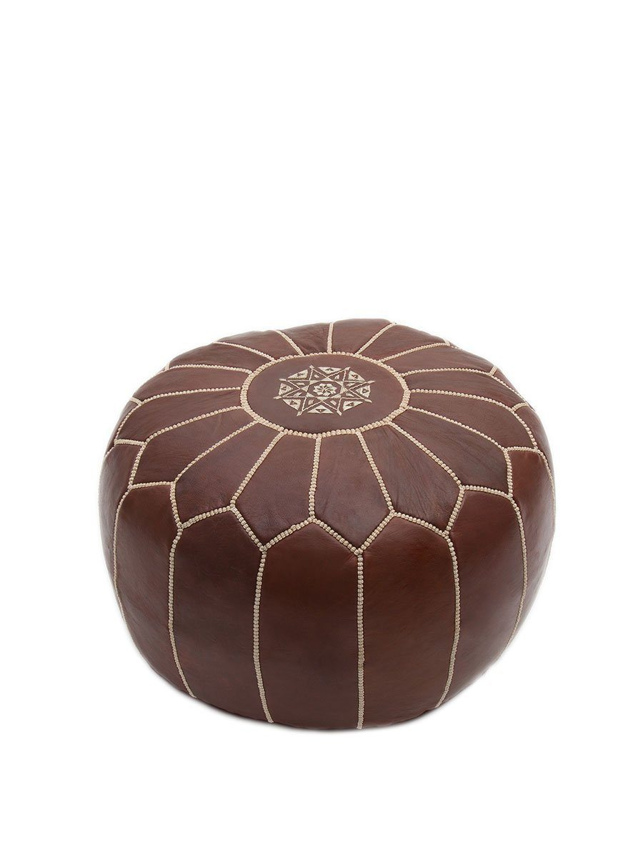 Tan Leather Pouffe - BouChic