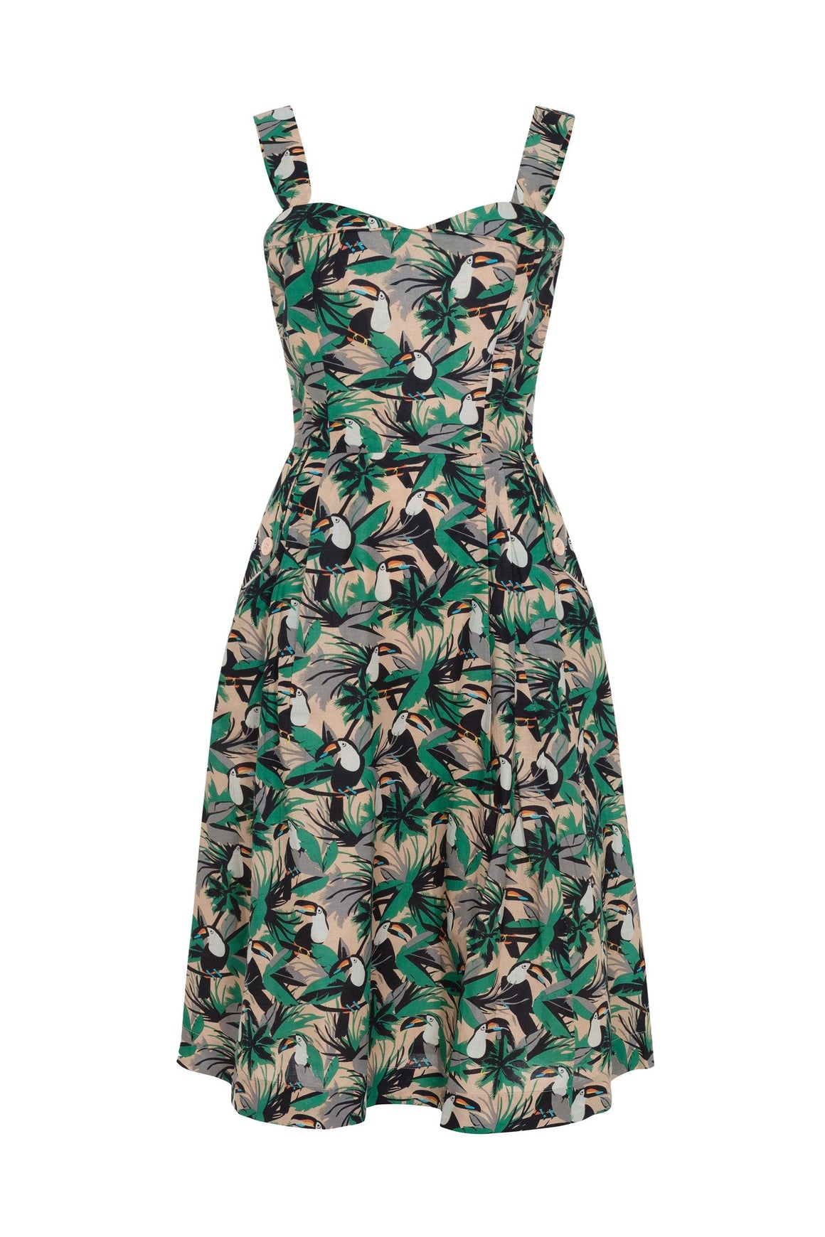 Tropical Toucans Print Pippa Dress Dress BouChic | Homeware, Fashion, Gifts, Accessories