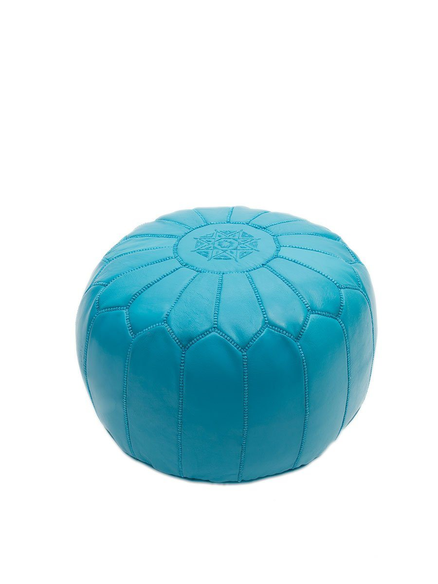 Turquoise Leather Pouffe - BouChic
