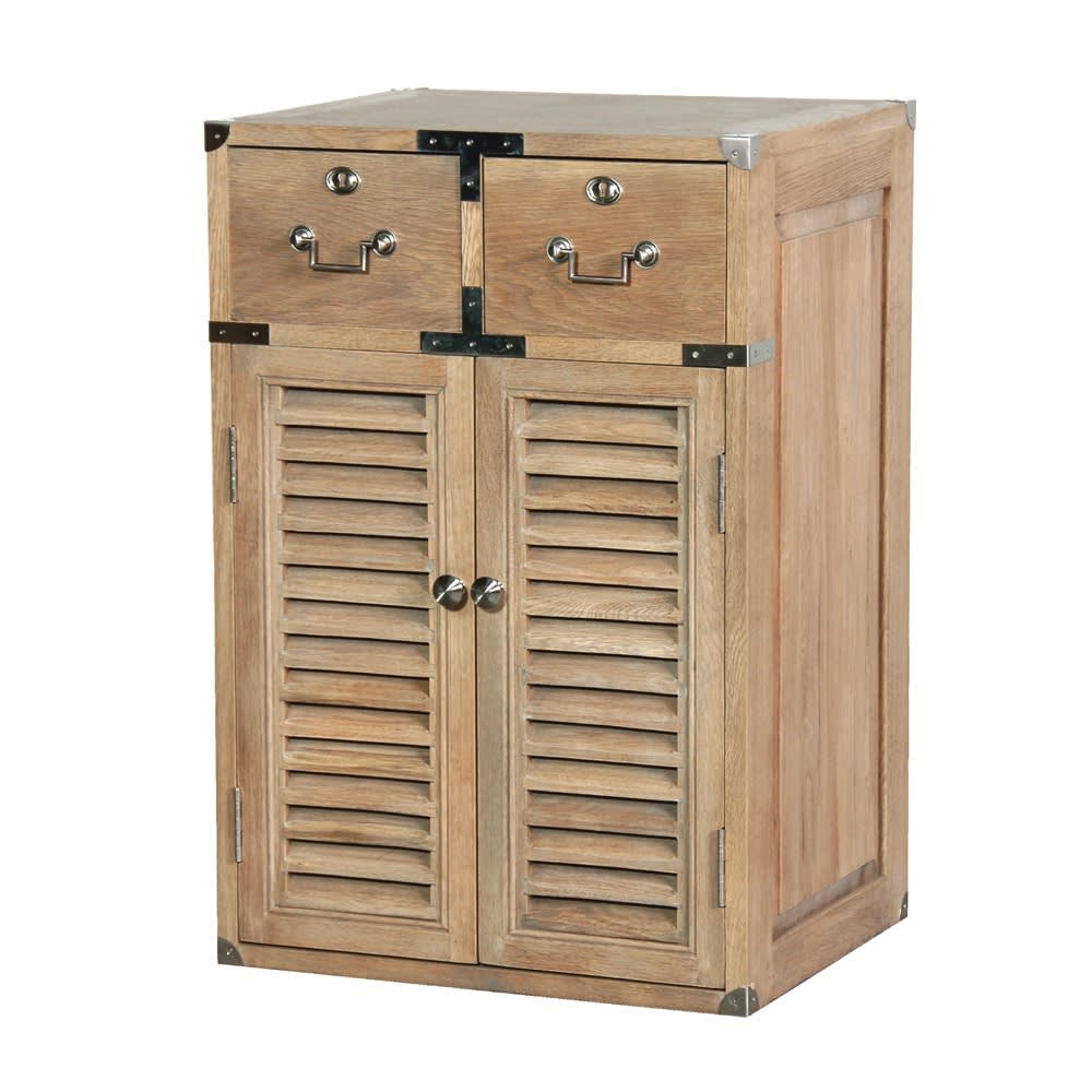 Weathered Oak 2 Drawer, 2 Door Louvred Cabinet - BouChic