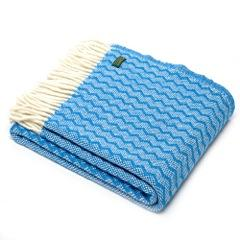 Zig Zag Pure New Wool Blanket/Throw - Sky Blue - BouChic