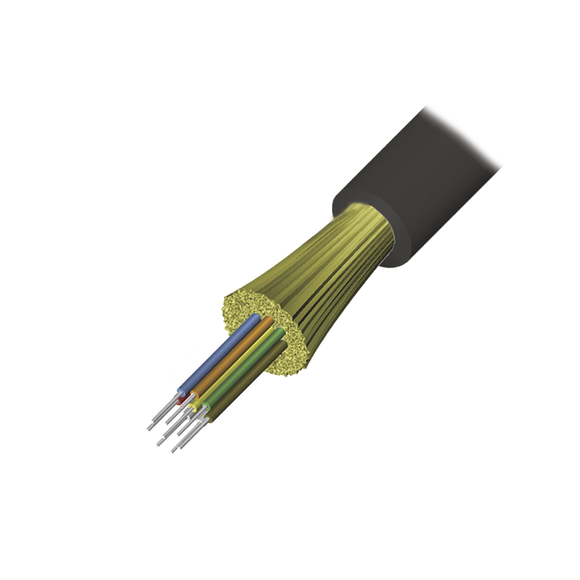 Cable de Fibra Óptica de 12 hilos, Interior/Exterior, Tight Buffer, No Conductiva (Dielectrica), Plenum, Multimodo OM4 50/125 optimizada, 1 Metro