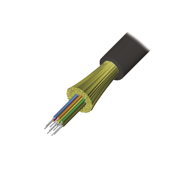 Cable de Fibra Óptica de 12 hilos, Interior/Exterior, Tight Buffer, No Conductiva (Dielectrica), Riser, Multimodo OM3 50/125 optimizada, 1 Metro