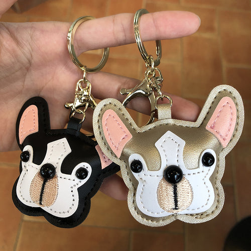 French Bulldog Leather Keychain