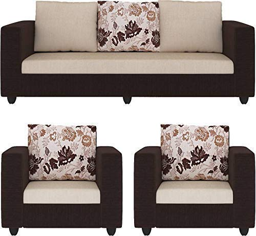 5 Seater Sofa Set:- Katie Hardwood Fabric Sofa Set (Brown and Cream)