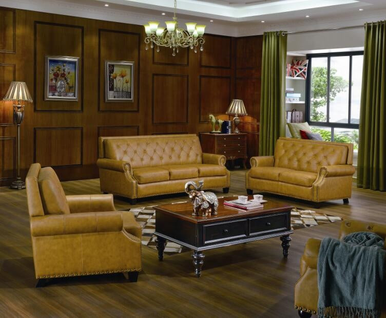 Designer Sofa Set:- American Style Classic Chesterfield Leather Sofa Set (Dark Khaki)