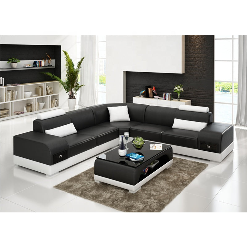 Designer Sofa Set:- American Style L Shape Modern Sofa Set (Black and White)