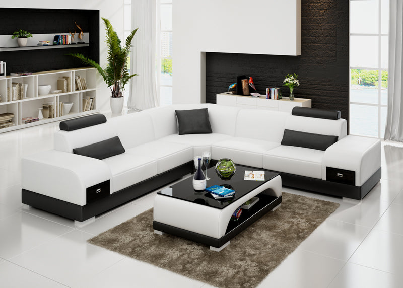 Designer Sofa Set:- American Style L Shape Modern Sofa Set (White and Black)