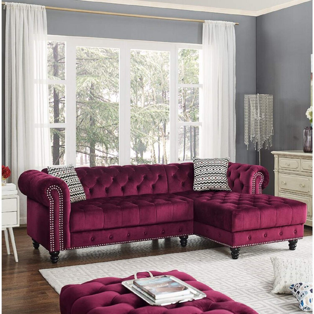 Designer Sofa Set:- LORA L Shape Fabric 5 Seater Sofa Set (Maroon)