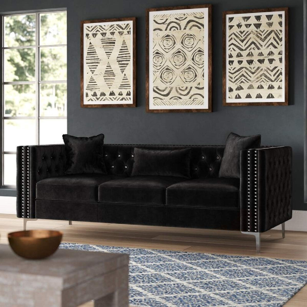Designer Sofa Set:- 3 Seater Chesterfield Velvet Fabric Sofa Set (Black)