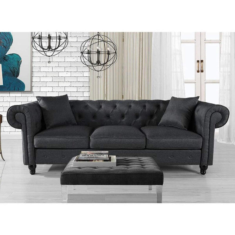 Designer Sofa Set:- Logue 3 Seater Velvet Fabric Sofa Set (Dark Grey)