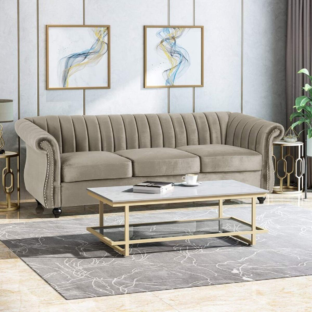 Designer Sofa Set:- Logue 3 Seater Velvet Fabric Sofa (Olive Light Grey)