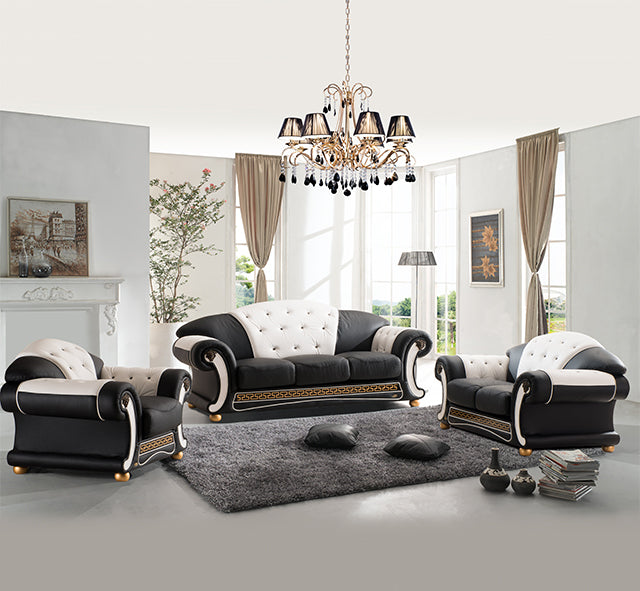 Designer Sofa Set:- Luxury Leather with wood furniture American Style Sofa Set (Black and White)